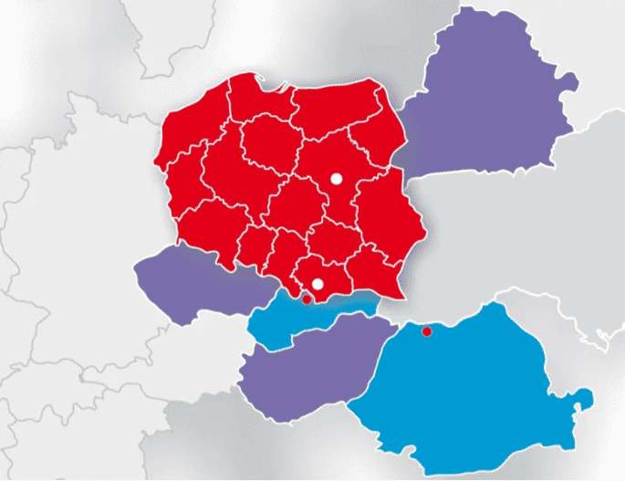 32 predajných miest Blachotrapez v Poľsku amnožstvo ďalších na území Slovenska, Česka, Bieloruska, Rumunska či Maďarska.