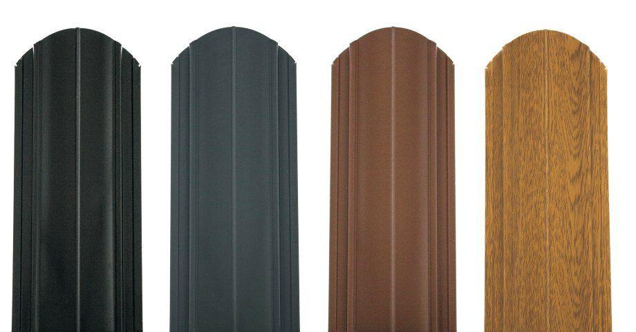 Plechové plotové lamely Premium od spoločnosti Blachotrapez v rôznych farebných prevedeniach.