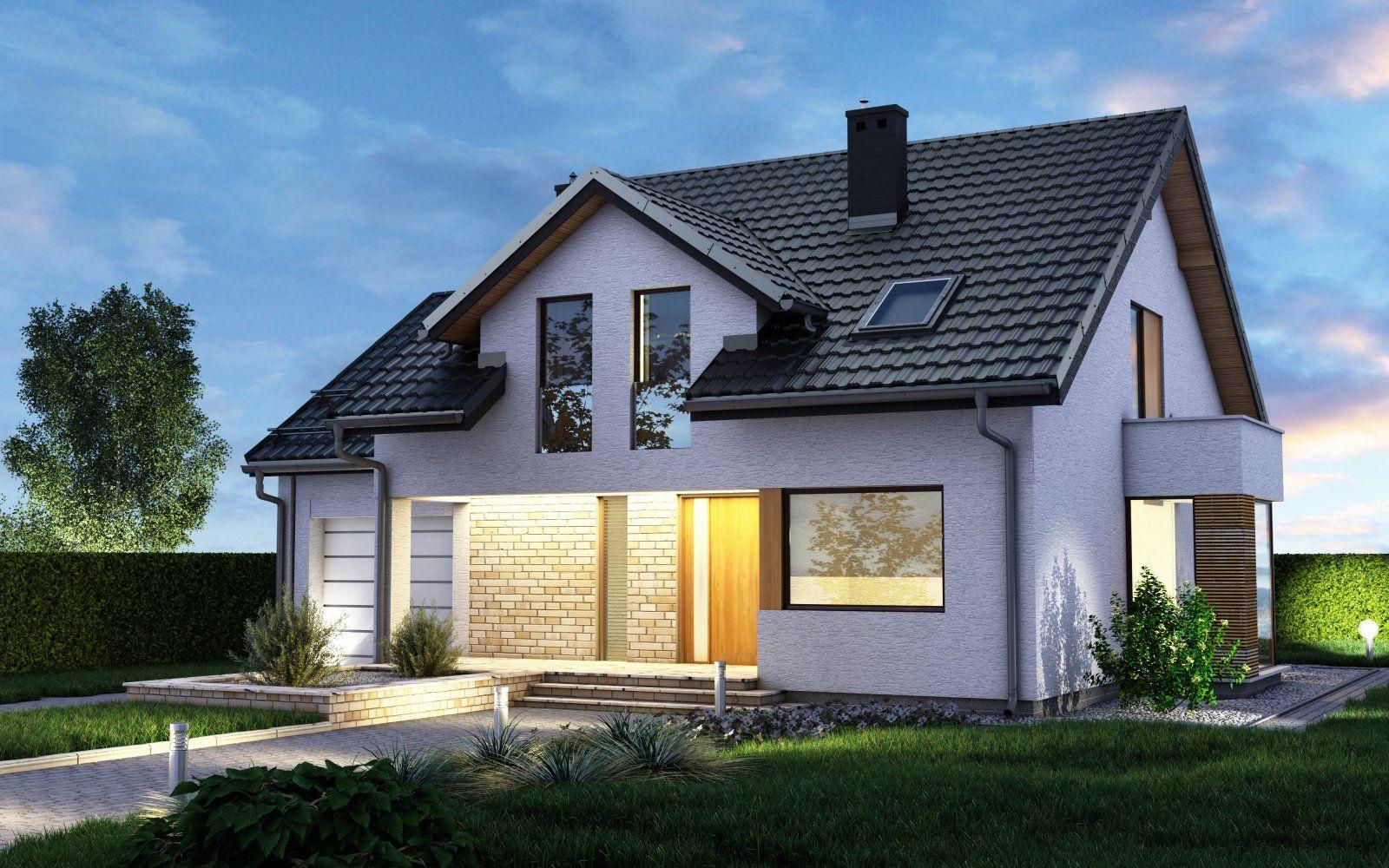 Plechová škridlová krytinavklasických farbáchpálenej škridly. Pohľad na dom zboku, podvečer v prítmí.